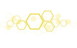 Hexagon het ontwerpkunst van de bijenbijenkorf en ruimteachtergrond Royalty-vrije Stock Foto