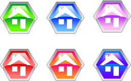 Hexagon House Logo Design Icon royalty free illustration