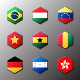 Hexagon icon set. Flags of the world with official RGB coloring and detailed emblems. In vector. Brazil Hungary Venezuela Vietnam Ghana Guinea Germany Honduras stock illustration