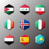 Hexagon icon set. Flags of the world with official RGB coloring and detailed emblems. In vector. Jordan Iraq Iran Ireland Iceland Italy Yemen Spain Kazakhstan stock illustration
