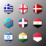 Hexagon icon set. Flags of the world with official RGB coloring and detailed emblems. In vector. Grece Georgia Danmark DRC Congo Dominicana Egypt Israel India stock illustration