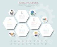Hexagon infographics με τα εικονίδια καθορισμένα Στοκ εικόνες με δικαίωμα ελεύθερης χρήσης