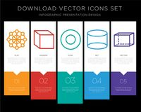 Hexagon infographics design icon vector. 5 vector icons such as Hexagon, Cube, Circle, Cylinder, Hexahedron for infographic, layout, annual report, pixel perfect Royalty Free Stock Photo