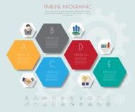 Hexagon infographics with icons set. Stock Image
