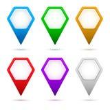 Hexagon-Karte-Zeiger-Pfeil-Satz-Farbe Lizenzfreie Stockbilder