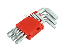 Hexagon kit tool or allen wrench set Royalty Free Stock Images