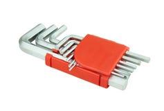 Hexagon kit tool or allen wrench set Stock Image