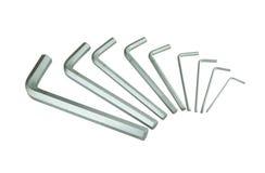 Hexagon kit tool or allen wrench set Royalty Free Stock Image