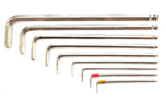 Hexagon kit tool or allen wrench set Royalty Free Stock Photography