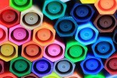 Hexagon Kleurrijke Pennen Stock Foto