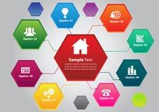 Hexagon kleurrijke tekstvakje malplaatjes Stock Fotografie