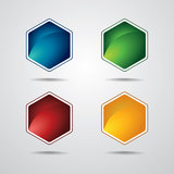 Hexagon label set Stock Photography