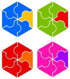 Hexagon logo. Colorful hexagon (or cube) logos in jigsaw puzzle style Stock Photos