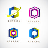Hexagon logo set Royalty Free Stock Photos