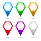 Hexagon-map-pointer-arrow-set-color Royalty Free Stock Images
