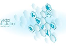 Hexagon medical flat icon set. Ambulance innovation medicine center poster business design element. Isometric 3D. Abstract composition blue glowing vector Royalty Free Stock Photo