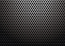 Hexagon metal. Silver metal background with hexagon holes and light reflection Stock Photo