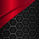 Hexagon metal background. Black and red geometric vector illustration Royalty Free Stock Photography