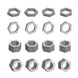 Hexagon. Monochrome set of geometric prism shapes, platonic solids, vector illustration Royalty Free Stock Images