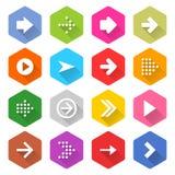 Hexagon-Netzknopf der flachen Pfeilikone gesetzter Lizenzfreie Stockbilder