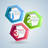 Hexagon numbered banners. Vector Royalty Free Stock Photos