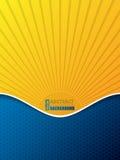 Hexagon patroon bedrijfsbrochure met barstend zonsilhouet royalty-vrije illustratie
