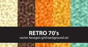 Hexagon patroon vastgestelde Retro 70 ` s Royalty-vrije Stock Foto