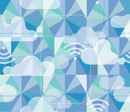 Hexagon Pattern with Clouds and Wifi Icons Stock Photo