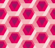 Hexagon pattern 3d illusion texture. With rose flower shape. red or pink abstract floral concept seamless pattern stock illustration