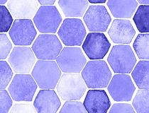 Hexagon pattern. Hand-drawn with watercolor in orange and gray vector illustration