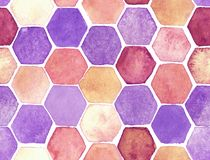 Hexagon pattern. Hand-drawn with watercolor in orange and gray stock illustration