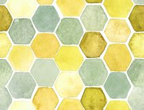Hexagon pattern. Hand-drawn with watercolor in orange and gray royalty free illustration