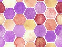 Hexagon pattern. Hand-drawn with watercolor in yellow and pink royalty free illustration