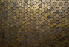 Hexagon pattern. Many hexagon is gold background royalty free stock images