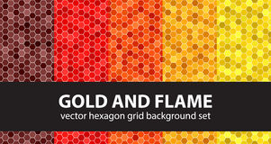 Hexagon pattern set Gold and Flame Royalty Free Stock Photography