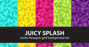 Hexagon pattern set Juicy Splash. Vector seamless geometric backgrounds with cyan, yellow, rose, green, violet hexagons Stock Photo