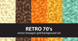 Hexagon pattern set Retro 70`s Royalty Free Stock Photo