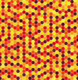 Hexagon pattern. Vector seamless background. With maroon, red, orange, gold, yellow hexagons on white backdrop Stock Photography