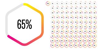 Hexagon-progress-137-ym. Set of hexagon percentage diagrams meters from 0 to 100 ready-to-use for web design, user interface UI or infographic - indicator with vector illustration