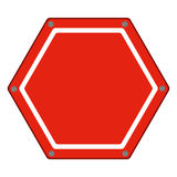 Hexagon of road sign red icon flat. Vector illustration royalty free illustration