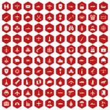 hexagon rood van 100 het militaire middelenpictogrammen Stock Foto
