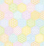 Hexagon seamless pattern with Japanese traditional design. Stock Photo