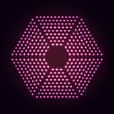 Hexagon shape abstract neon lights background. Glowing dots and lines. Hexagon shape abstract neon lights background for your design royalty free illustration