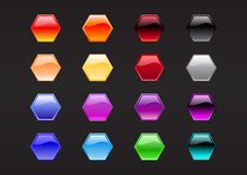 Hexagon shape buttons Royalty Free Stock Photography