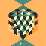 Hexagon shape with cubes inscribed Royalty Free Stock Photos