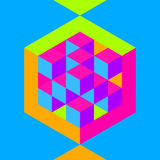 Hexagon shape with cubes inscribed Stock Photo