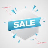 Hexagon shape with SALE sign ribbon Stock Image
