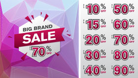 Hexagon shape with SALE signs on triangle background Royalty Free Stock Photo