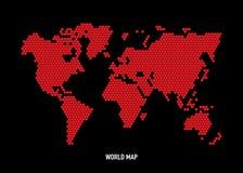 Hexagon shape world map Royalty Free Stock Image