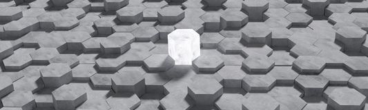 Hexagon shaped concrete blocks wall background. Artwork for comparison of victory or comparison of the competition. Business vector illustration